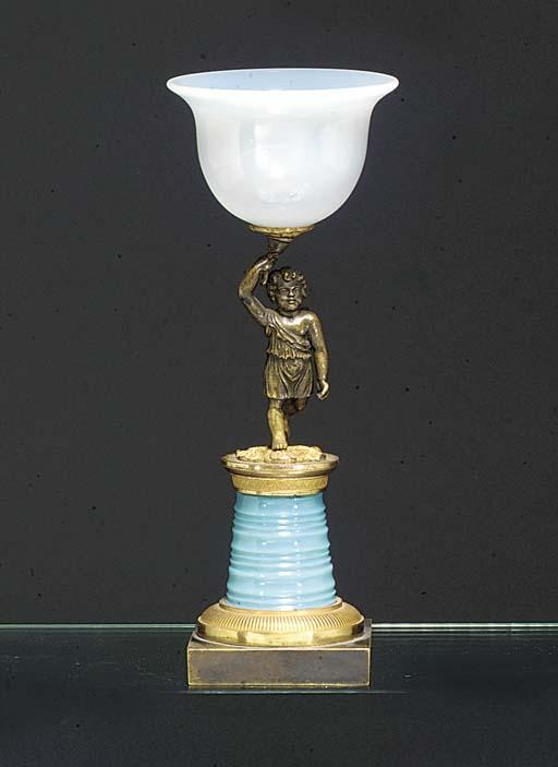 An opaline bronze and gilt-met