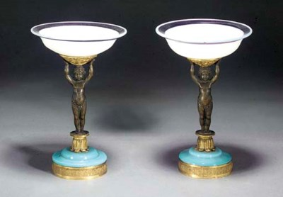 A pair of opaline bronze and g
