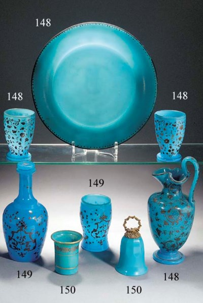 A French opaque-blue cylindric