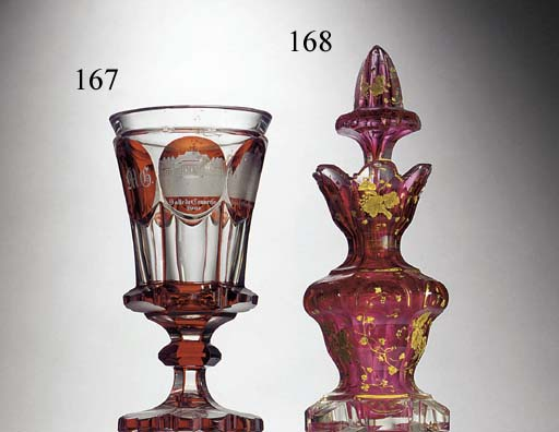 A Bohemian ruby and clear glas