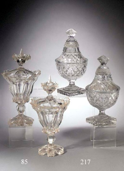 A pair of cut-glass sweetmeat-