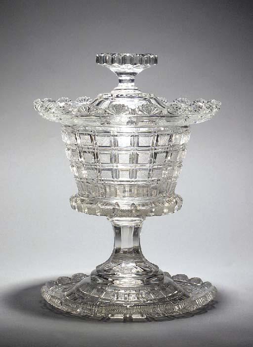 A Continental cut-glass vase,