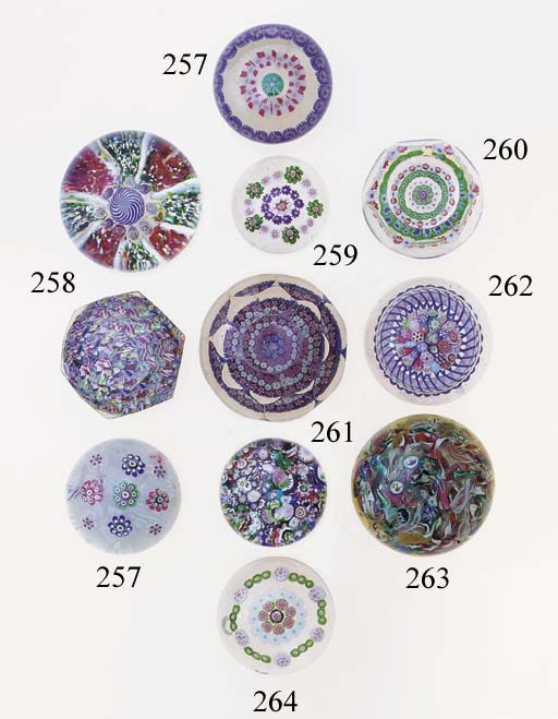 Two Bohemian millefiori weight