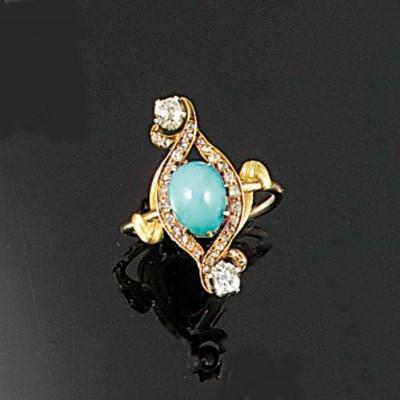 An Art Nouveau gold, turquoise