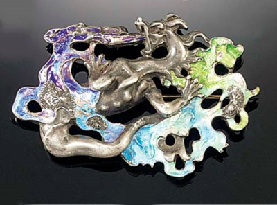 A Lalique silver and enamel br