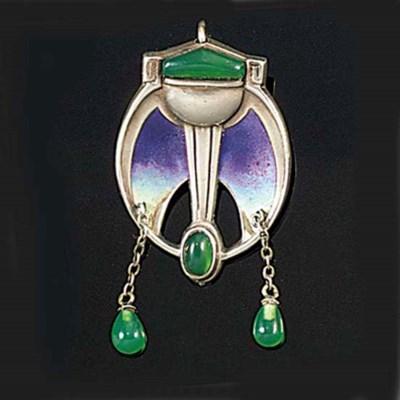 A Jugendstil silver, enamel an
