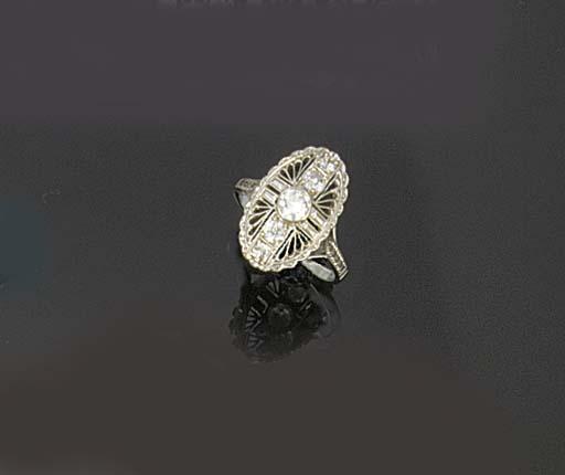 A 1930's diamond five stone ri