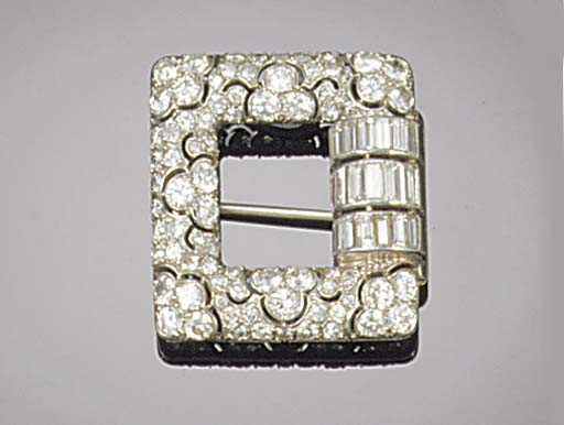 An Art Deco diamond and baguet