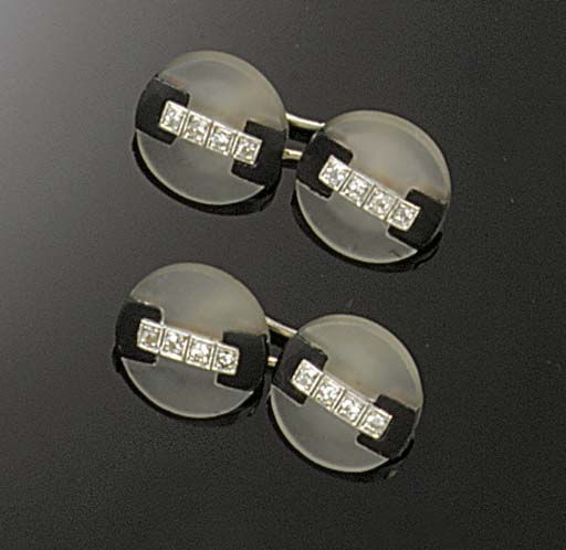 A pair of Art Deco rock crystal, diamond and onyx cufflinks,
