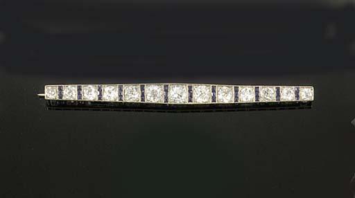 An Art Deco diamond and synthe