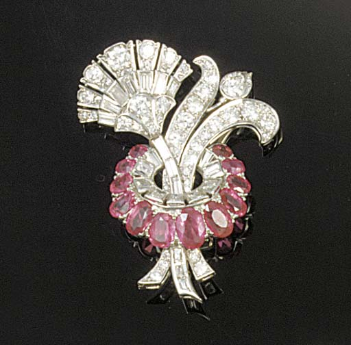 An Art Deco ruby, diamond and