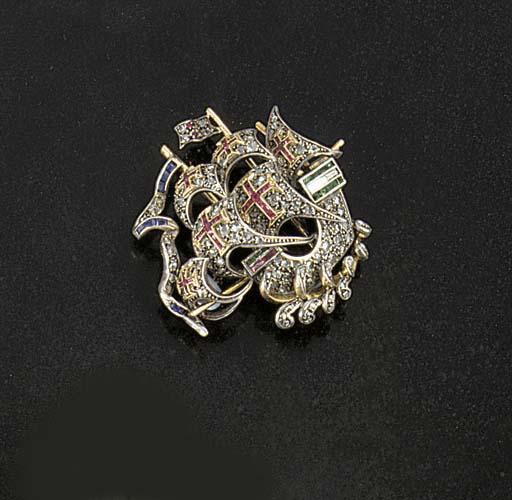A Retro diamond and gem galleo