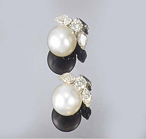 A pair of Van Cleef & Arpels diamond and cultured pearl earclips,