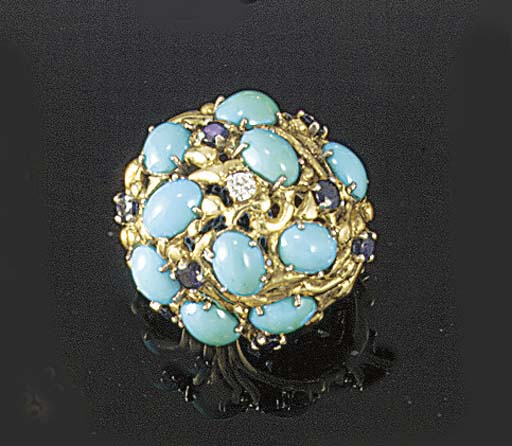 A John Donald 18ct. gold, diamond, turquoise and sapphire ring