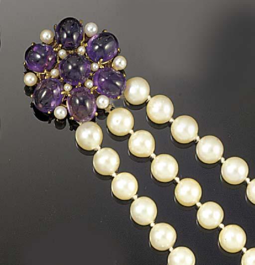 A uniform cultured pearl three