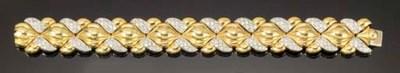 A diamond set panel bracelet