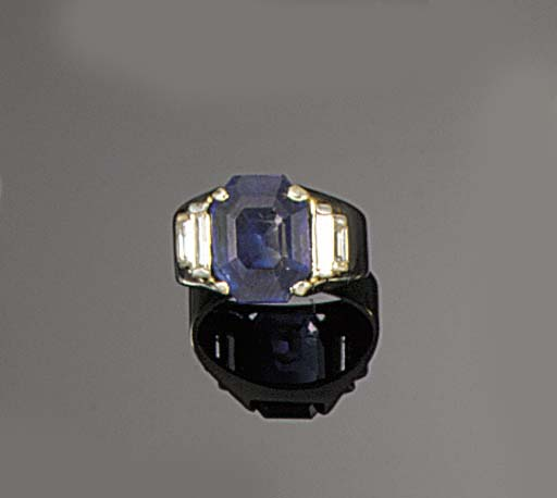 A sapphire ring,