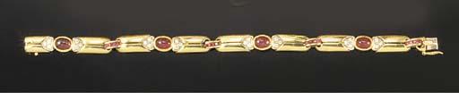 A ruby and diamond bracelet,