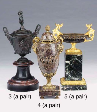 A pair of French bronze and ma