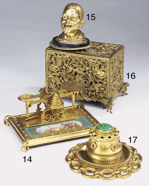 A Continental gilt brass stati