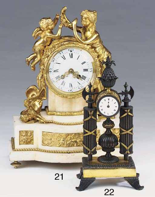 A Regency bronze mantel timepi