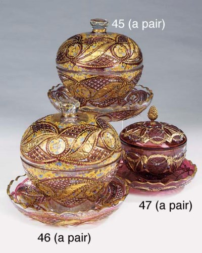 A pair of painted and gilt hei