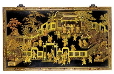 A Chinese lacquered and gilt h