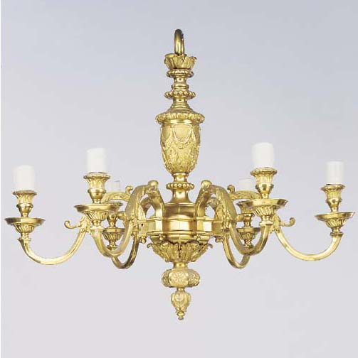A gilt bronze six light chande