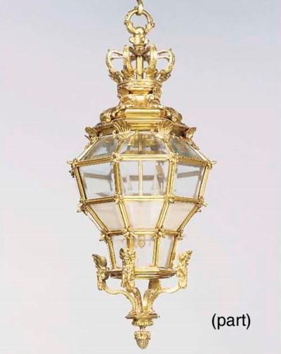 A gilt bronze and glazed lante