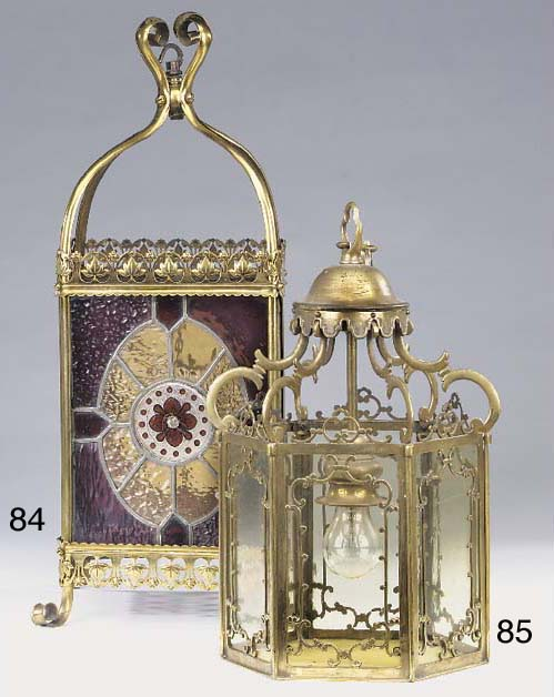 A Continental glazed brass hal