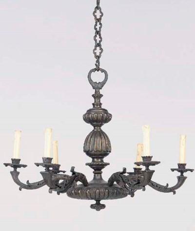 A patinated bronze six light e