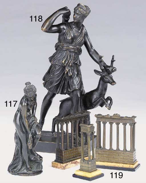 Three Italian bronze and marmo
