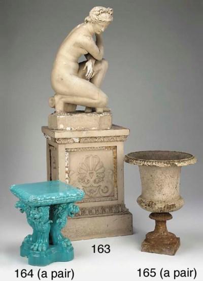 A pair of aquamarine glazed ce