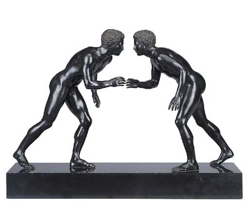 A pair of Neapolitan bronze mo