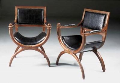 A pair of mahogany X-framed fa