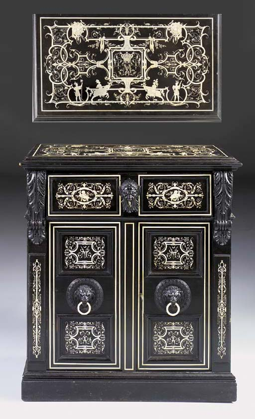 A Milanese ebonised and ivory inlaid secretaire dressing table, late 19th