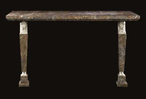 A marble console table, parts