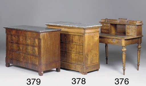 A WALNUT AND CROSSBANDED DESK,