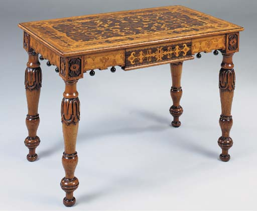 AN IRISH ROSEWOOD, SATINWOOD AND MARQUETRY CENTRE OR SIDE TABLE, EARLY 19TH CENTURY