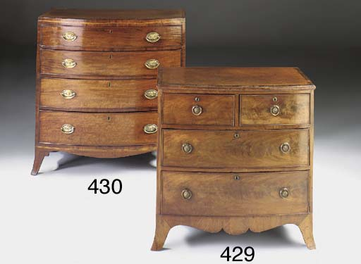 A MAHOGANY BOWFRONTED CHEST OF