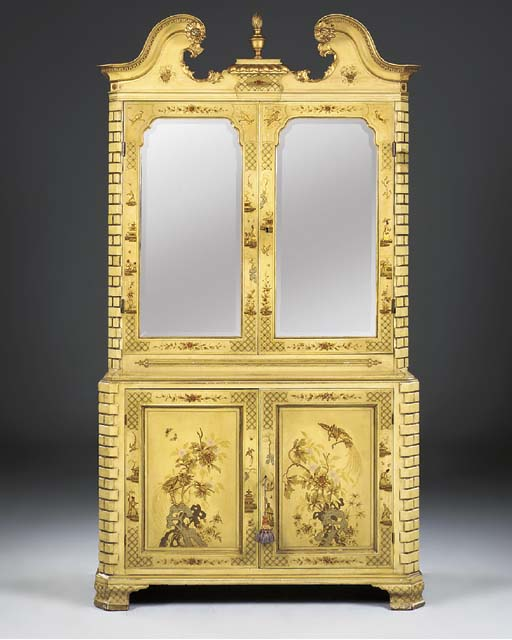 A GEORGE III AND LATER DECORATED MIRRORED CABINET