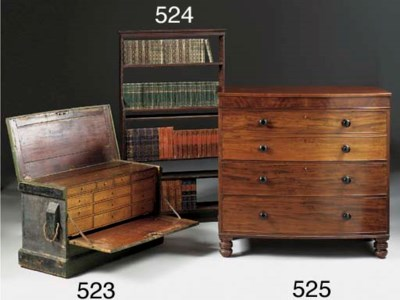 A MAHOGANY BOWFRONT CHEST OF D