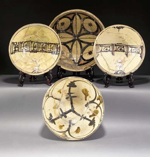 Four Nishapur pottery bowls 10th century