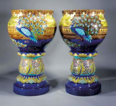 A PAIR OF LARGE EARTHENWARE JA