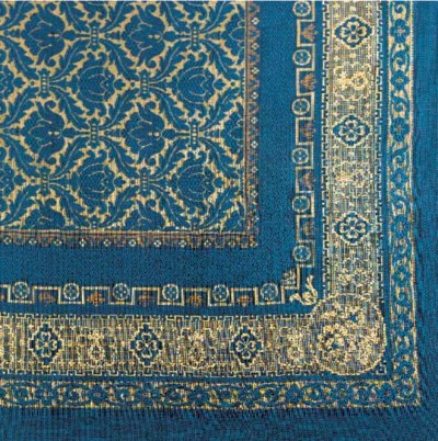 A  WOOL AND SILK TABLECLOTH