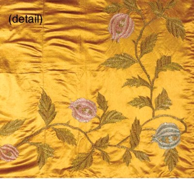 AN EMBROIDERED SILK TABLECLOTH