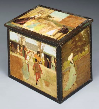 A PAINTED PINE CHEST