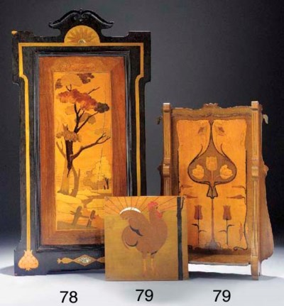 A MARQUETRY AND INLAID WOOD PA