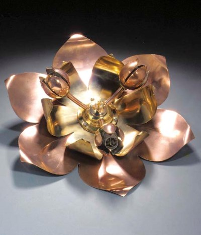 A COPPER AND BRASS CEILING LIG
