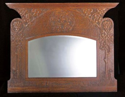 AN OAK OVERMANTLE MIRROR attri